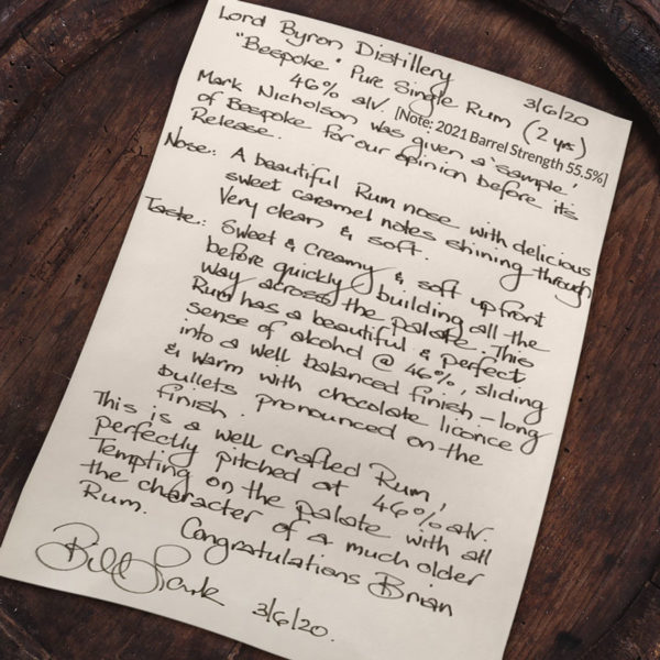 Lord Byron Distillery Pure-Single-Rum Bill Lark Tasting Notes