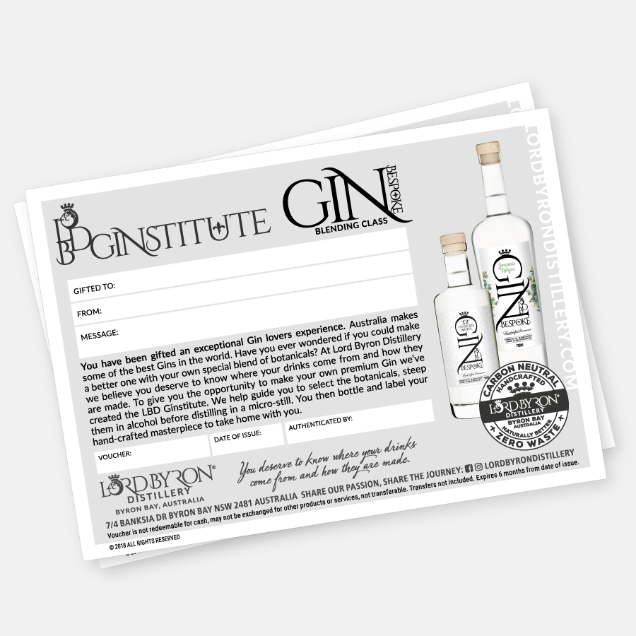 Lord Byron Distillery Bespoke Gin Blending Class Voucher