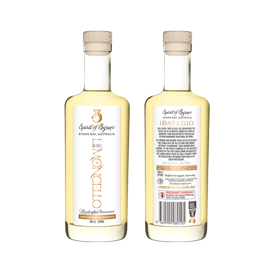 Lord Byron Distillery Limoncello Front and Back