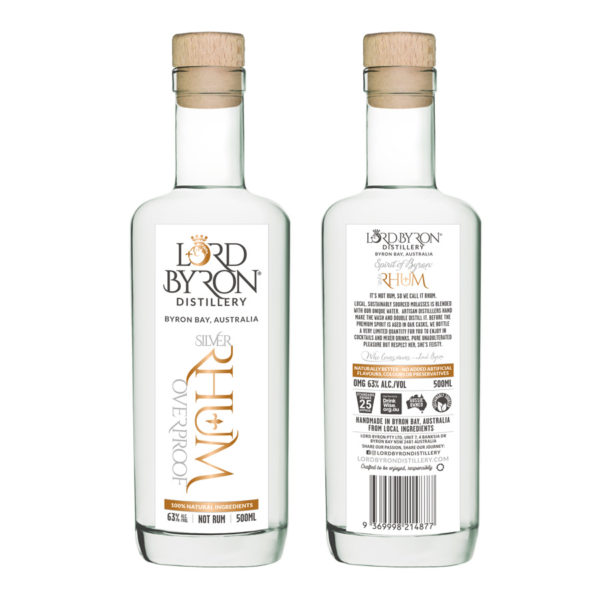 Lord Byron Distillery Silver Rhum Overproof Front and Back