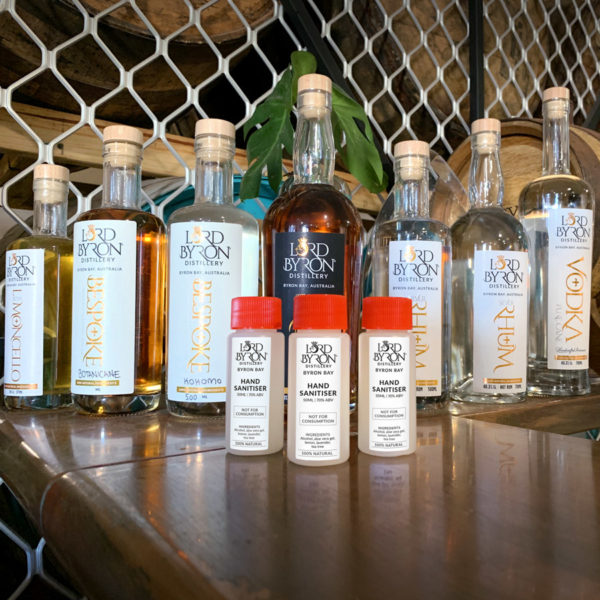 Lord Byron Distillery range of products includeing hand sanitizer