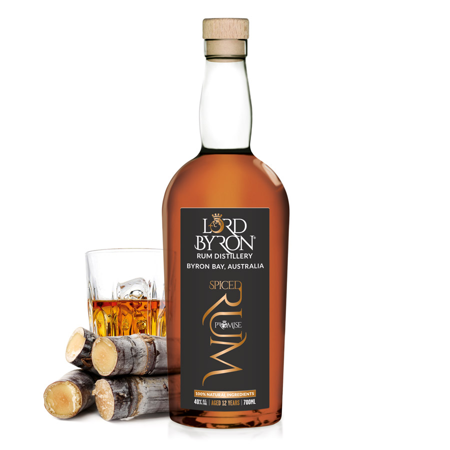 Lord Byron Distillery The Promise Spiced Aged Rum Bottle Back and Front